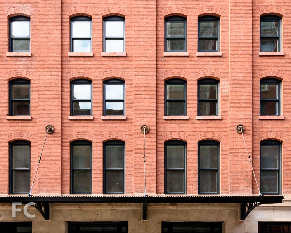 Closeup of thenorth façade.