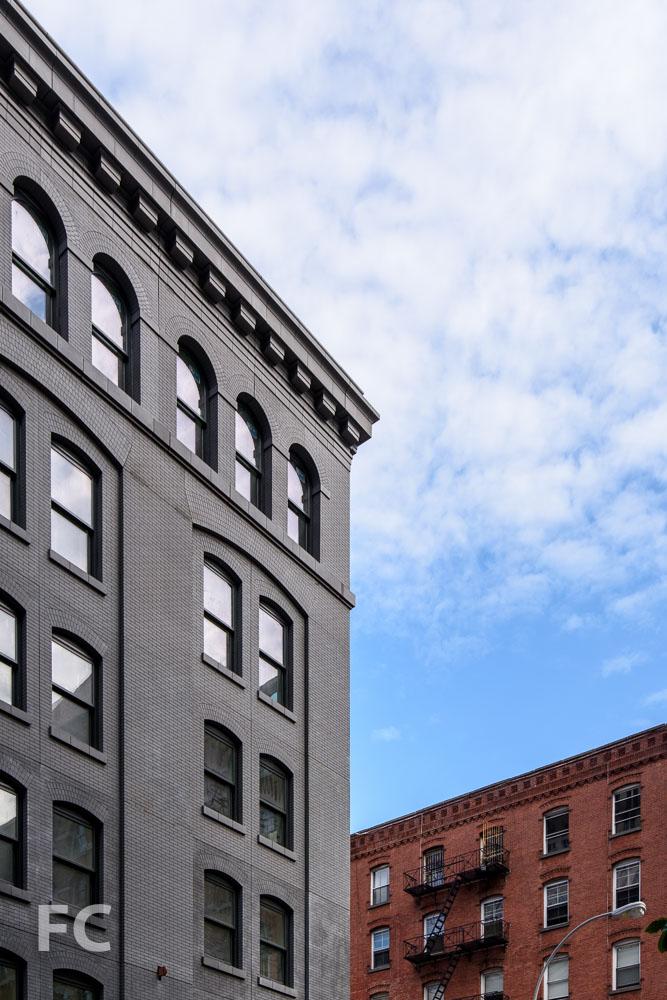 Closeup of the northeast corner from Greenwich Street.