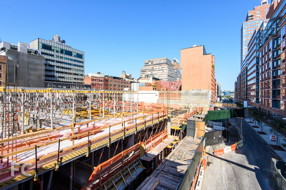 Looking west from the High Line's West 28th Street stairs.