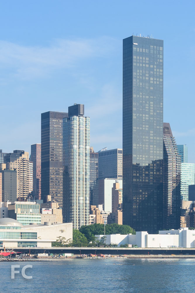View of 50 UN Plaza (left) and Trump World Tower (right) from Queens.