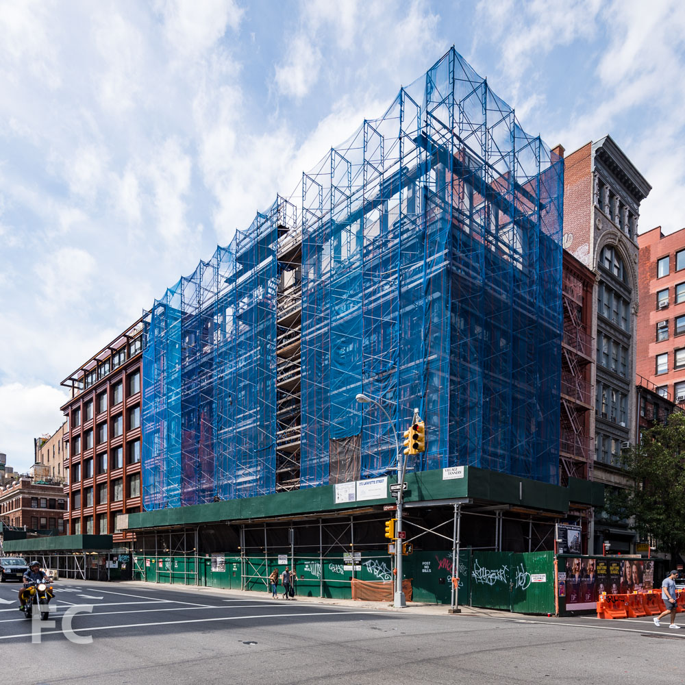 Northeast corner of Morris Adjmi Architects' 372 Lafayette Street (right) and 10 Bond (left).
