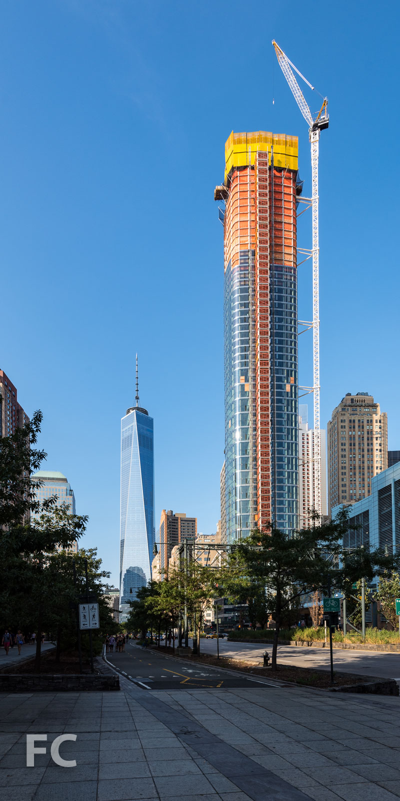 Looking north from the Hudson River Greenway towards 50 West (center) and One World Trade Center (left).