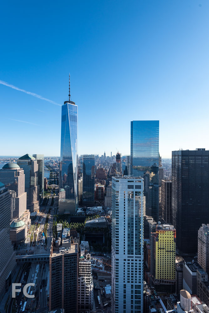 The view north towards the World Trade Center site from the highest residential floor.