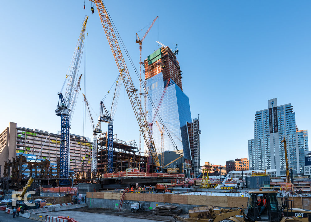 Looking southeast towards 30 Hudson Yards (left), the retail podium (center), and 10 Hudson Yards (right).