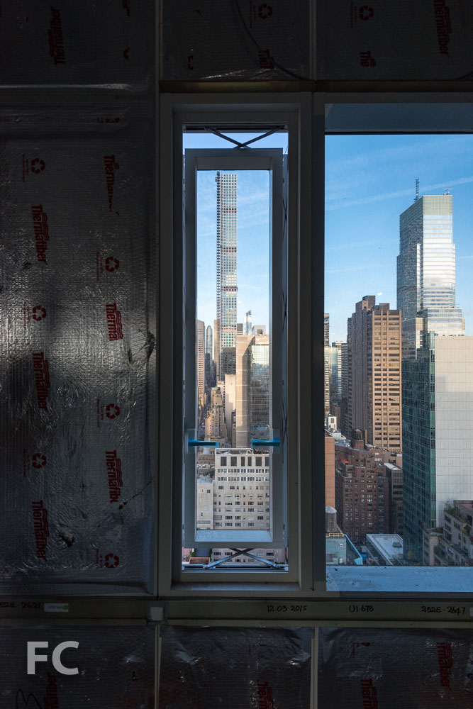 A view of 432 Park Avenue from a parallel projecting operable window.