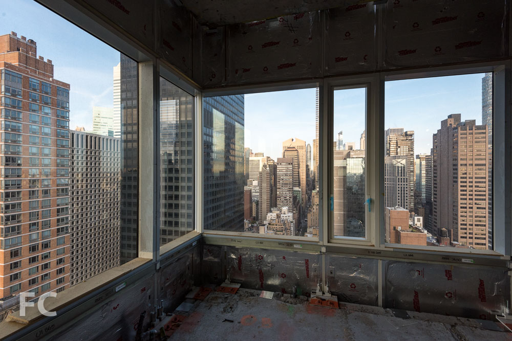Looking west from a corner unit.