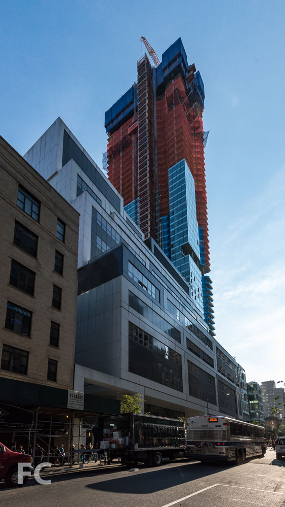 Southwest corner of the tower from East 56th Street.