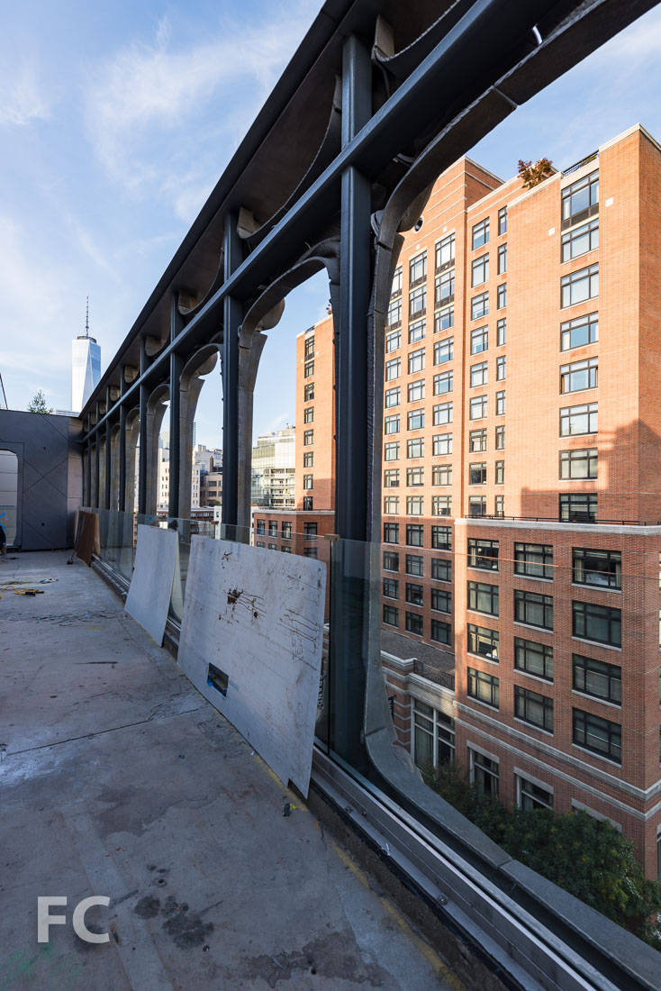 Cast aluminum facade screen from the penthouse terrace.