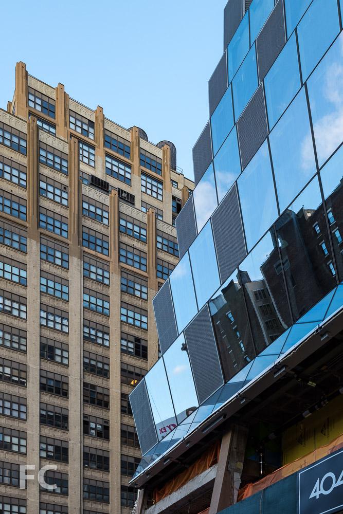 Detail of northwest corner of 5 Manhattan West.