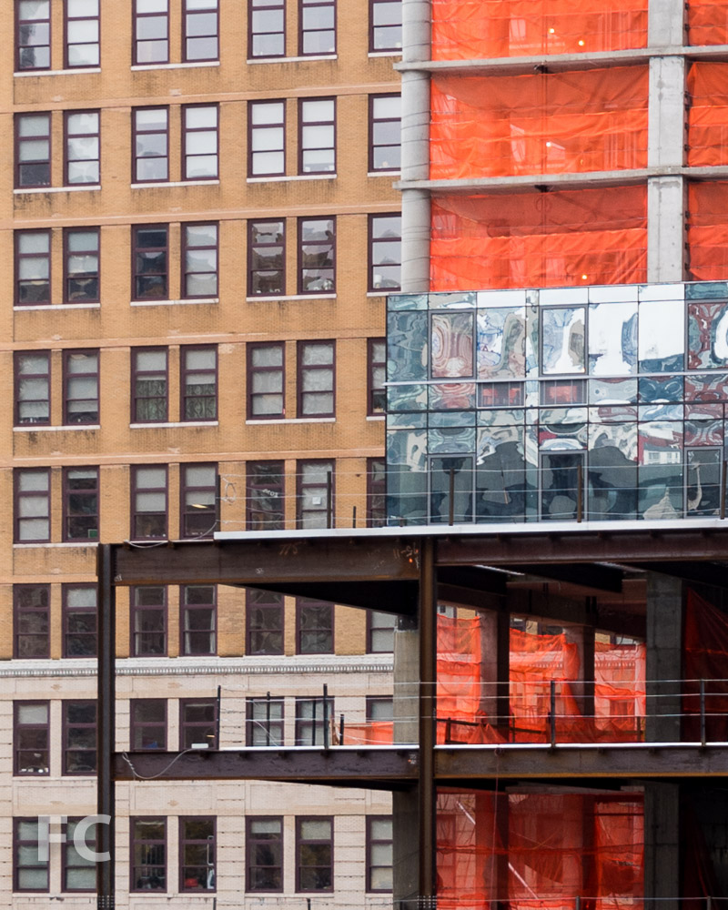 Curtain wall detail at the northeast corner of 401 West 31st Street.
