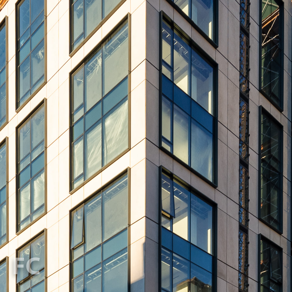 Close-up of new façade installed on converted 90 Lexington Avenue tower.