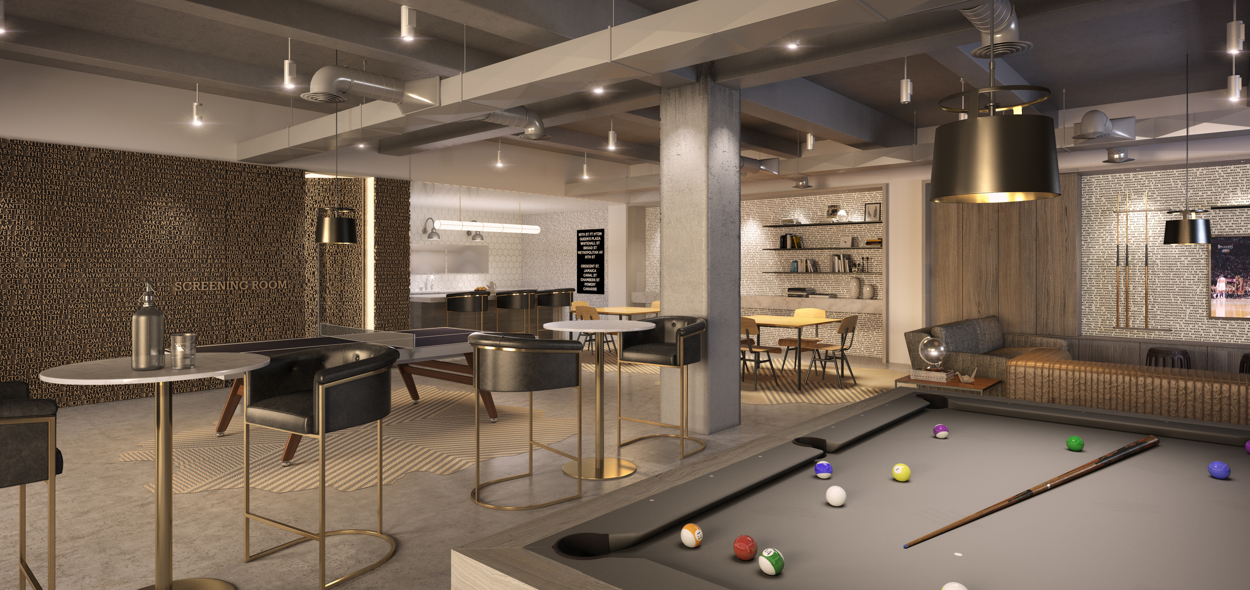 Rendering of the Residents' Lounge.