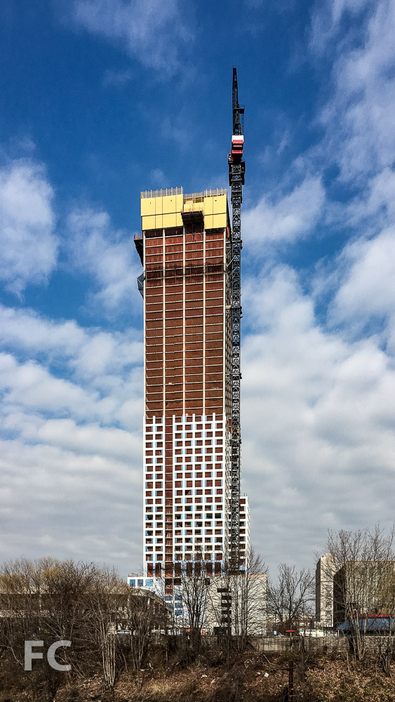 South facade of the phase one tower.