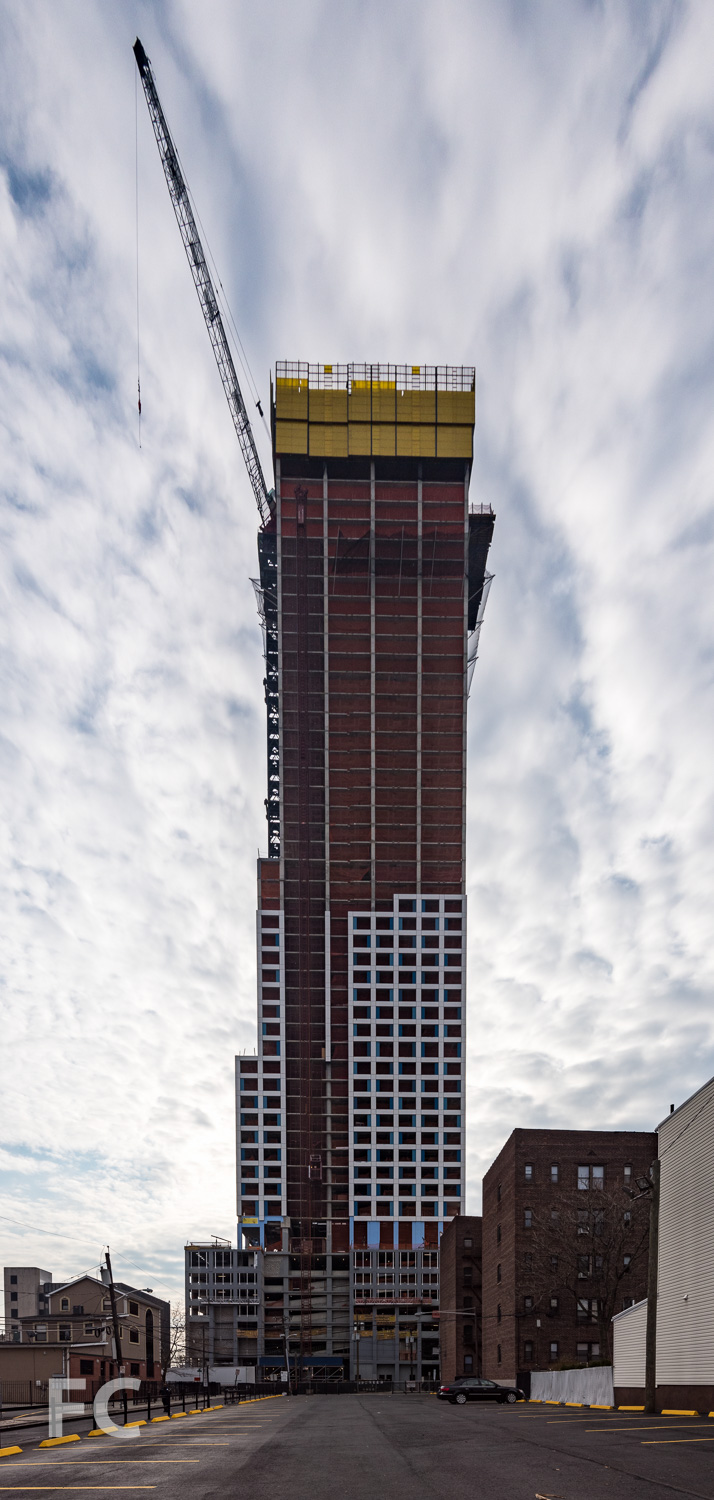 North facade of the phase one tower.