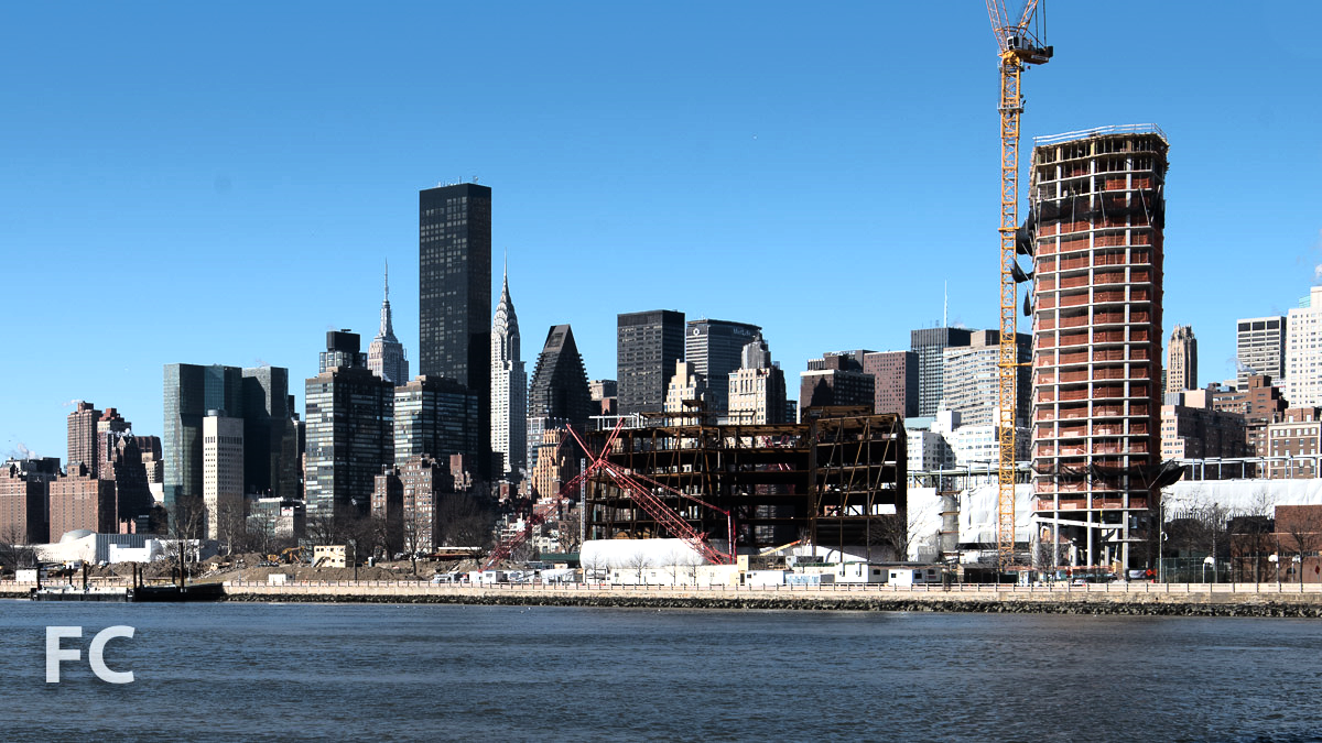 The Residential Building (right), the Bloomberg Center (far right), and the Bridge (center).