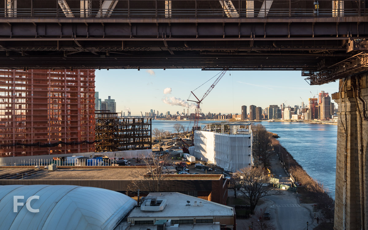 Looking south towards the Cornell Tech campus from the Roosevelt Island Tram.