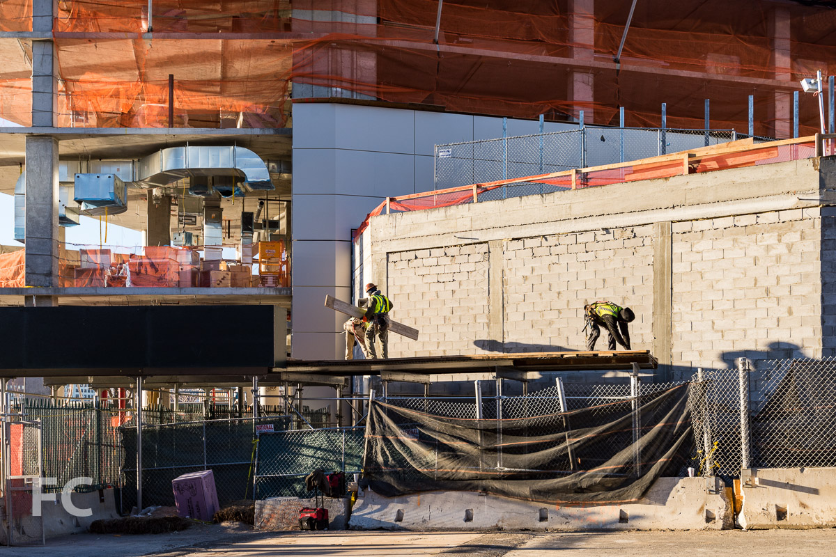 Facade panels installed on the north facade of the Cornell Tech Residential Building.