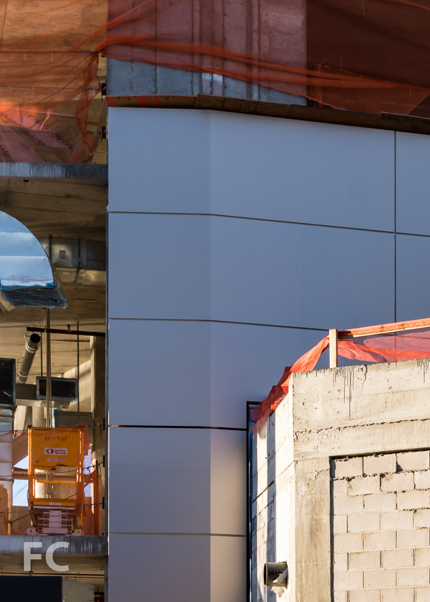 Close-up of the facade panels on the Cornell Tech Residential Building.