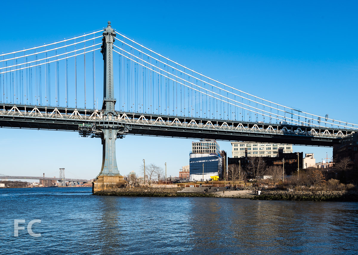 Looking east towards the Manhattan Bridge and the west façade of 1 John Street.