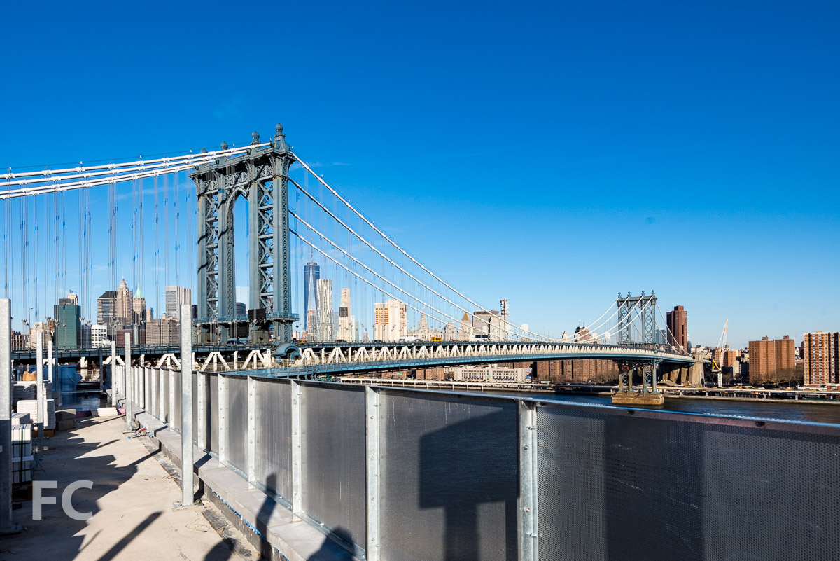 Looking northwest towards the Manhattan Bridge and Lower Manhattan from the rooftop.