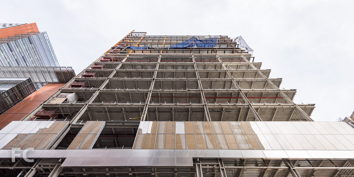Looking up at the south façade from East 68th Street.