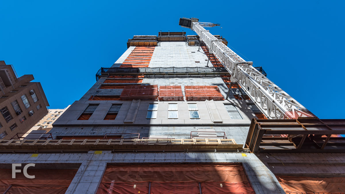 Looking up at the south elevation of the tower.
