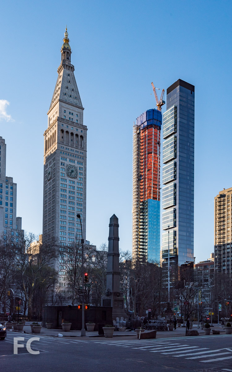 View of the Met Life Tower (left), 45 E 22 (center), and One Madison (rigtht) from 5th Avenue.
