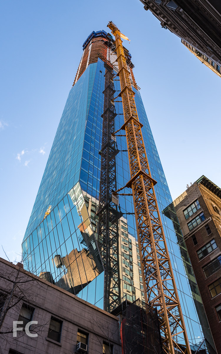 Looking up at the southwest corner of the tower from East 22nd Street.