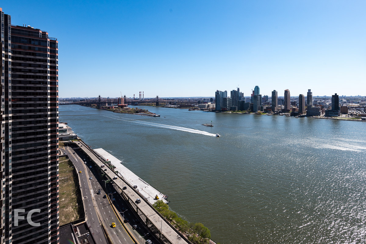View of the Queens waterfront and Roosevelt Island from the skybridge.