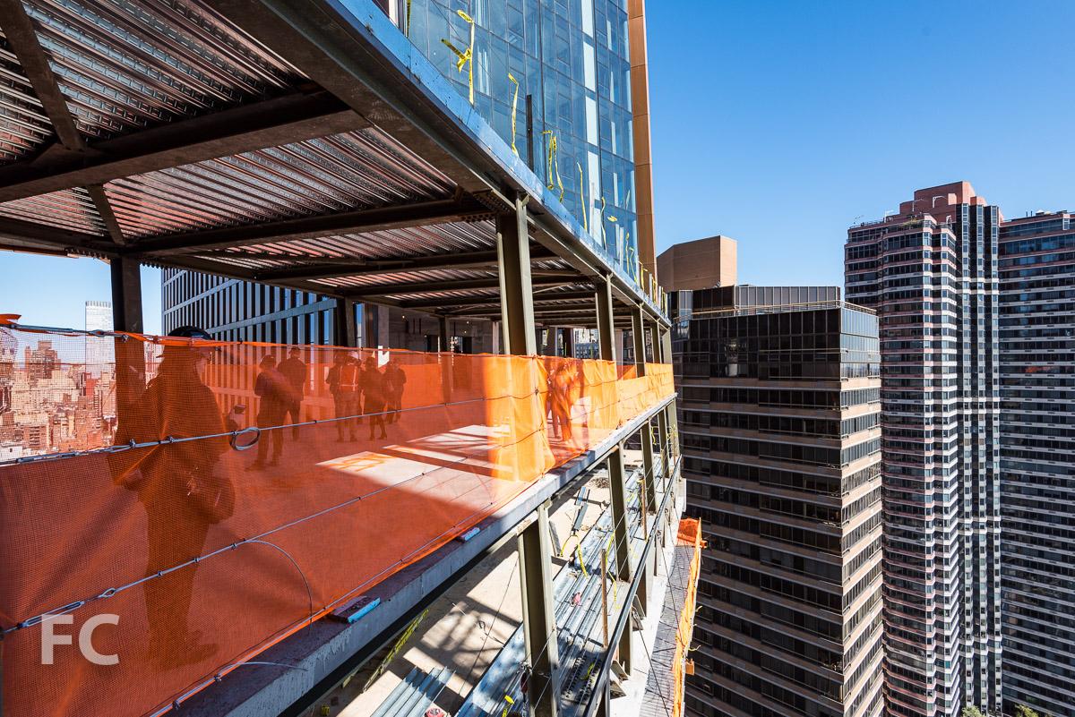 East facade of the skybridge under construction.