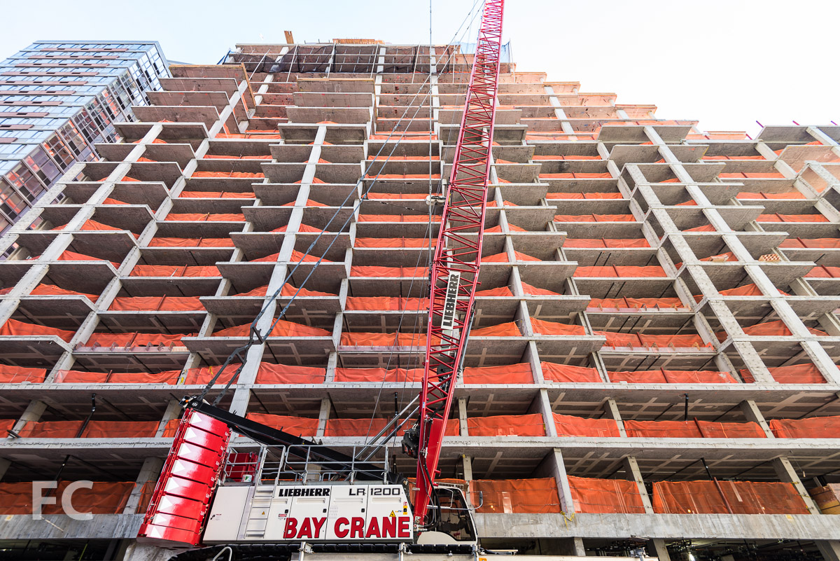 Looking up at the north facade at the West 53rd Street tower.