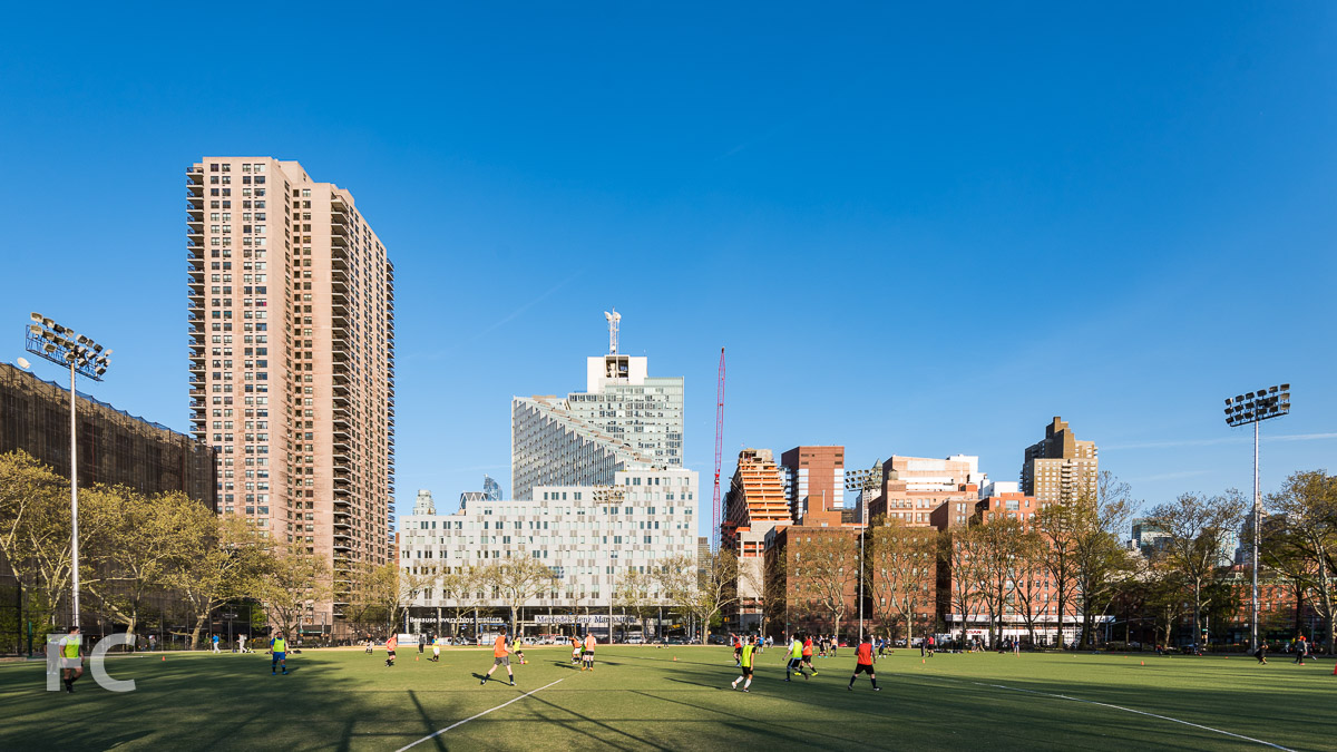 Looking east towards the northwest corner of the project and the Mercedes House from De Witt Clinton Park.