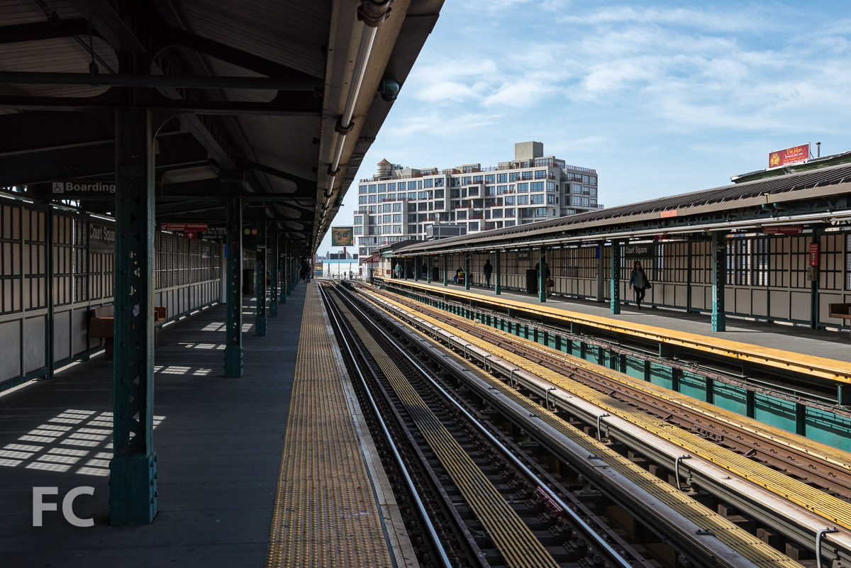 Northeast corner from the Court Square subway station platform.