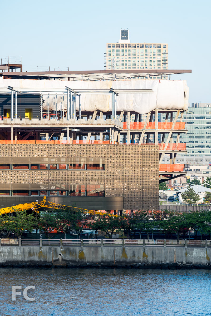 Close-up of the southwest corner of the Bloomberg Center.