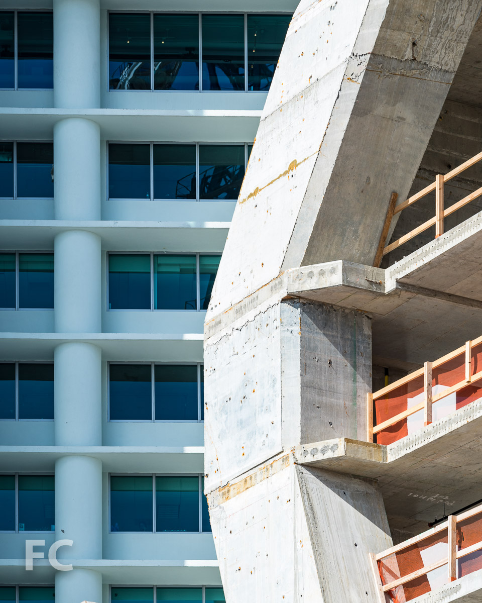 Close-up of the concrete superstructure.