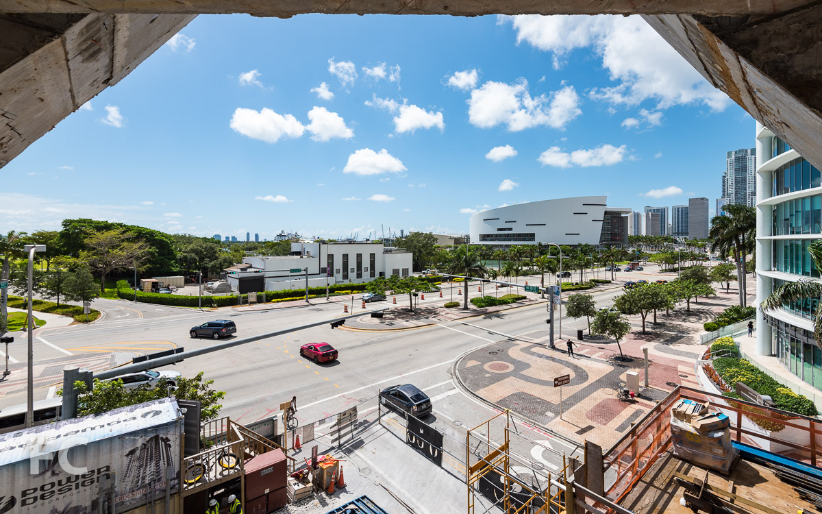 Looking east towards Museum Park and the American Airlines Arena from a parking level.