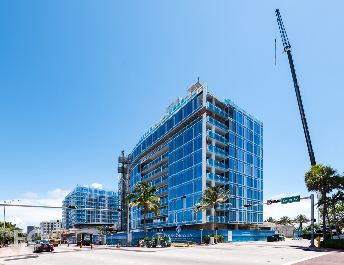 Southwest corner of the residential and hotel south tower from Collins Avenue.
