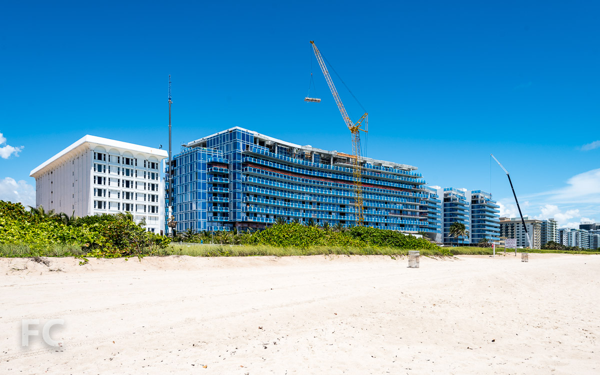 View of the site from Surfside Beach.