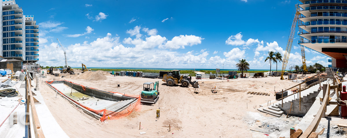 Panorama of the view of Surfside Beach from the amenity deck.