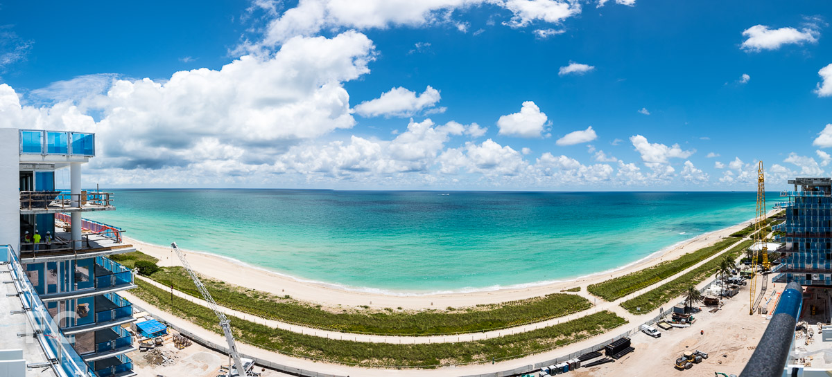 Panorama of the penthouse view of Surfside Beach.