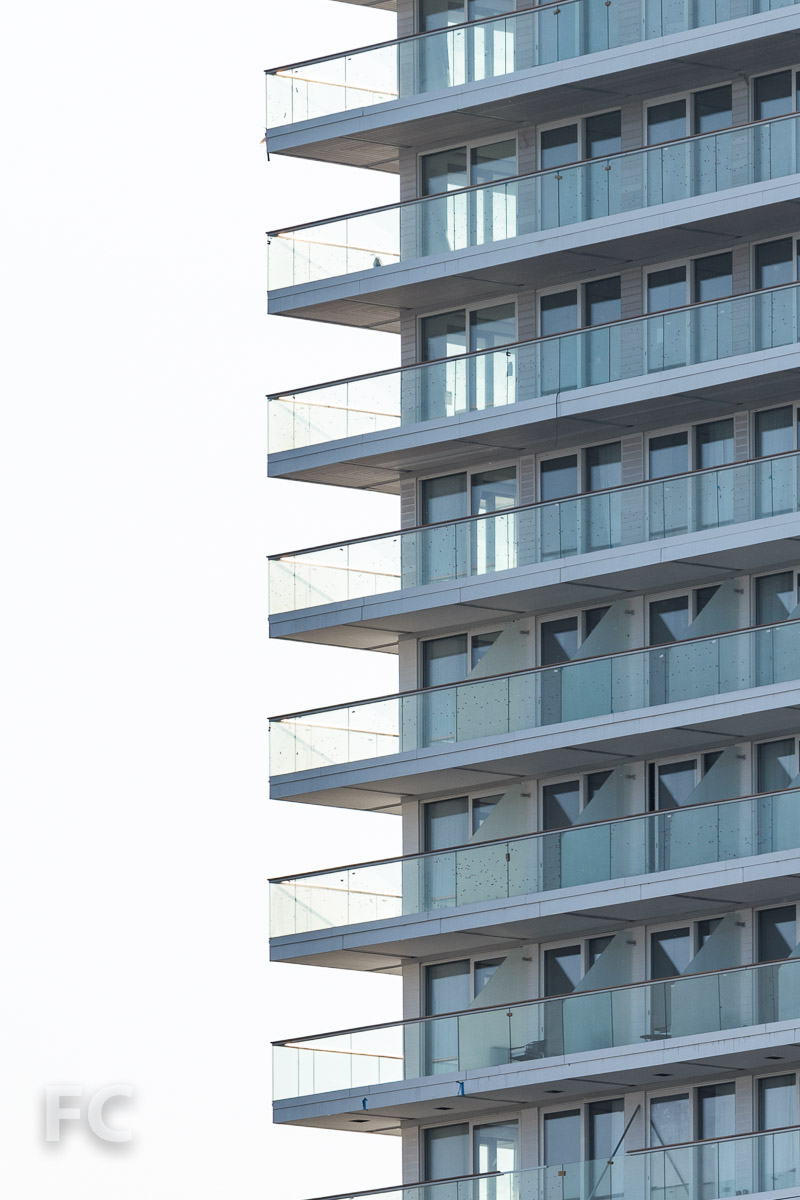 Close-up of the hotel balconies.