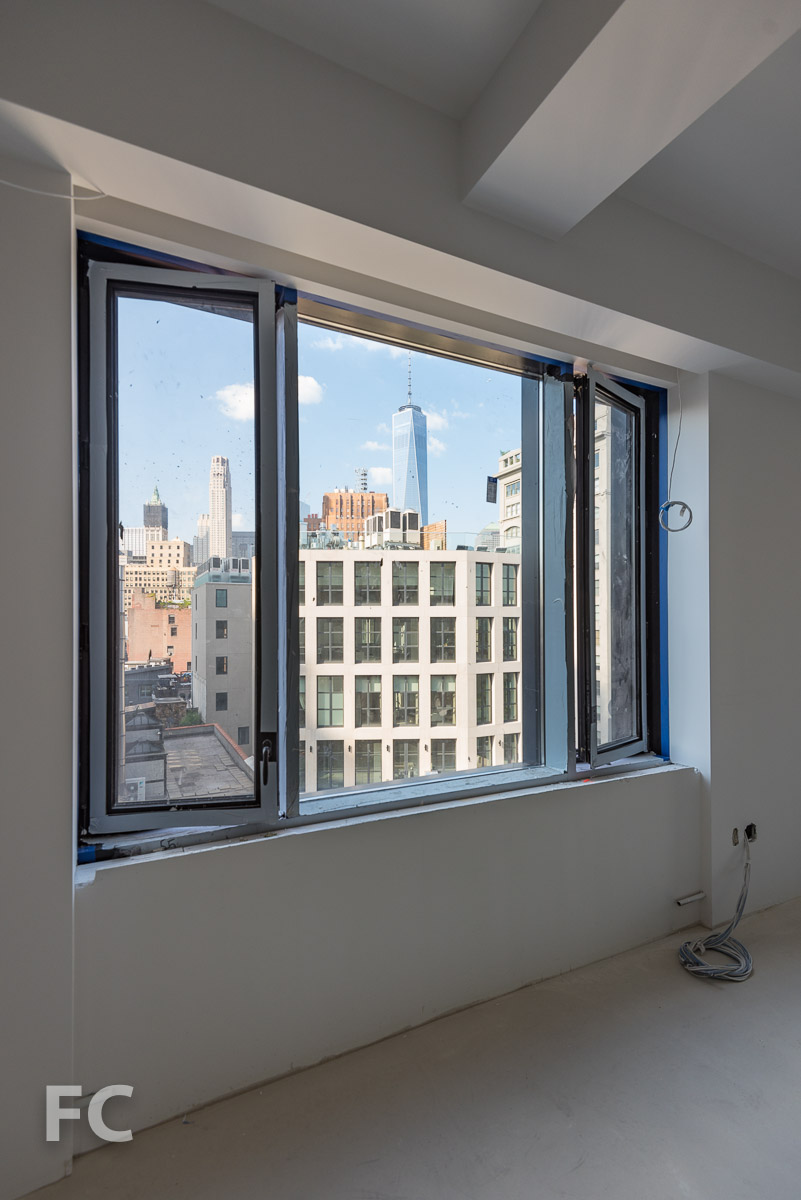 View of Lower Manhattan from a unit under construction.