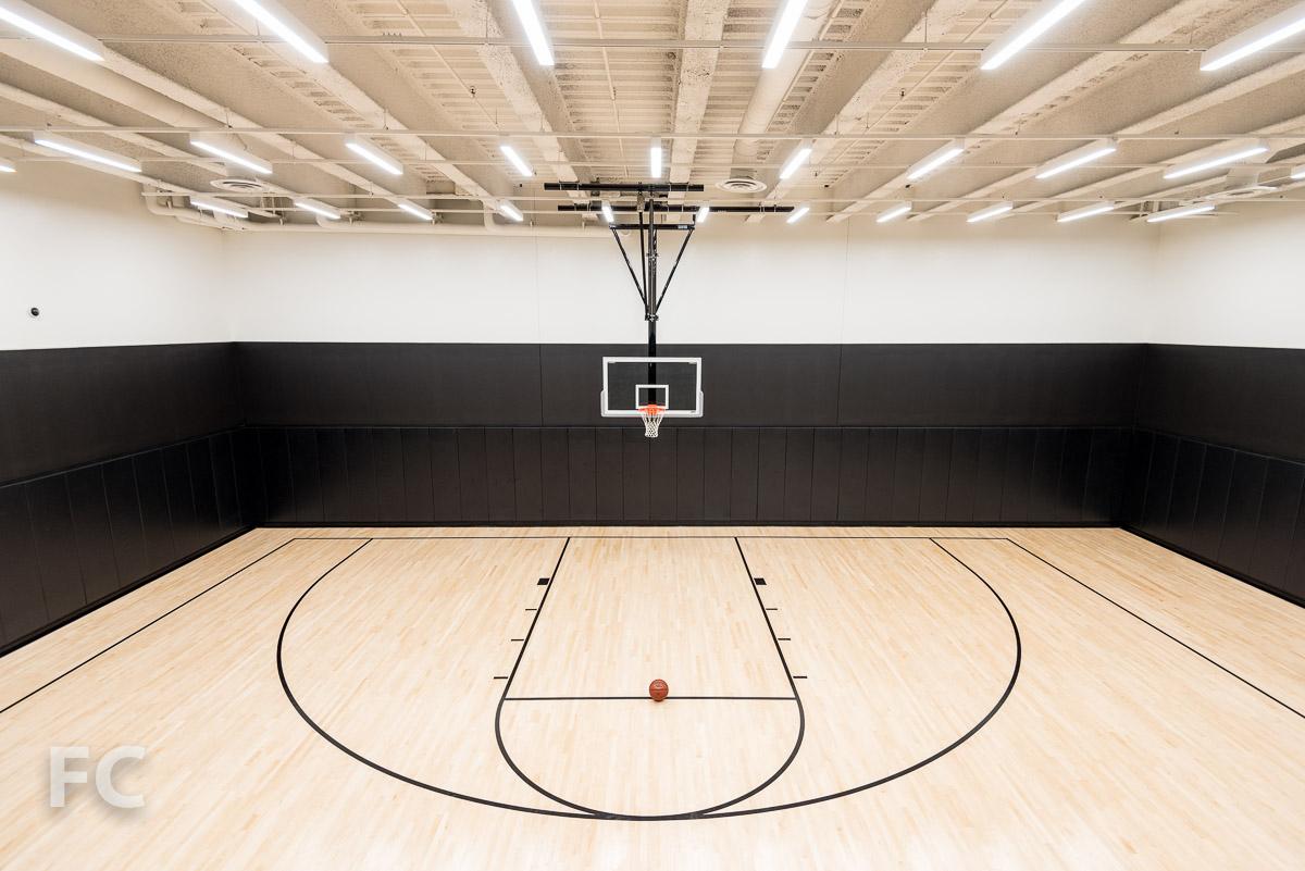 Indoor half basketball court.