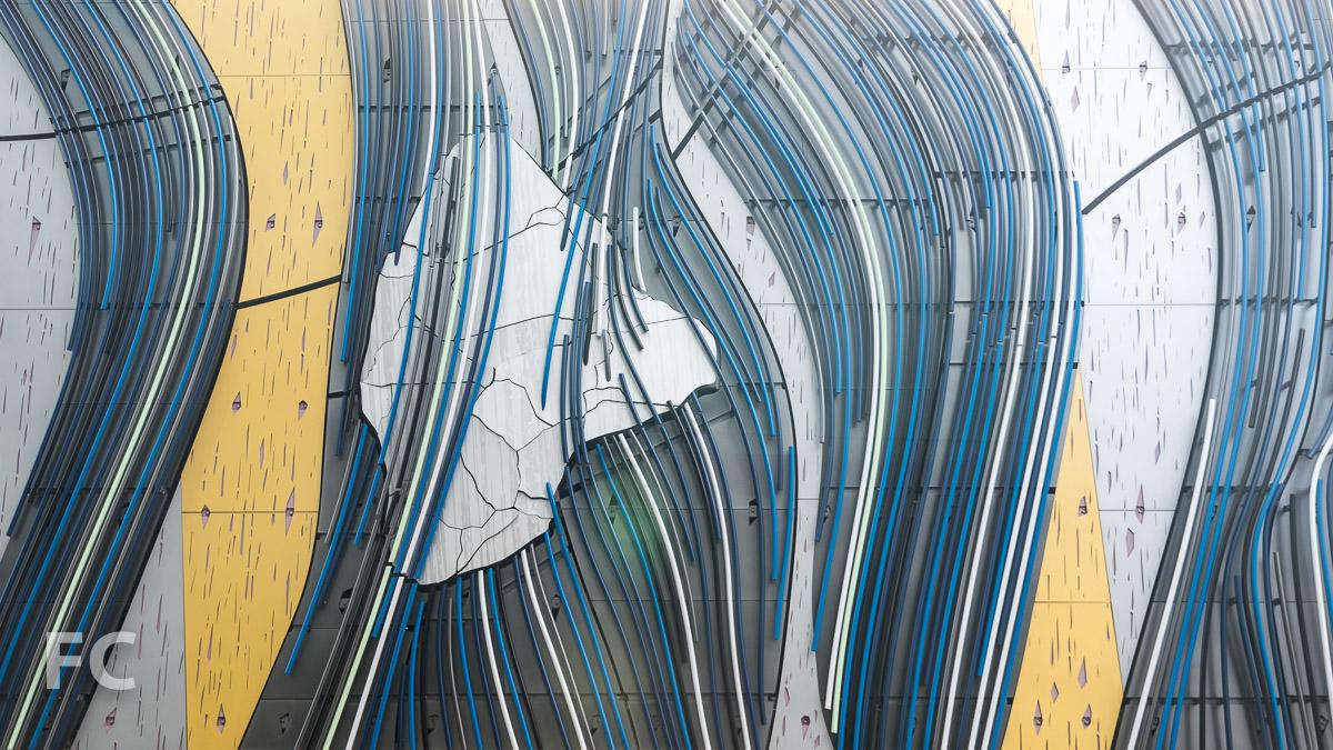 "Detail of Stephen Glassman Studio's ""Flow Two Ways."""