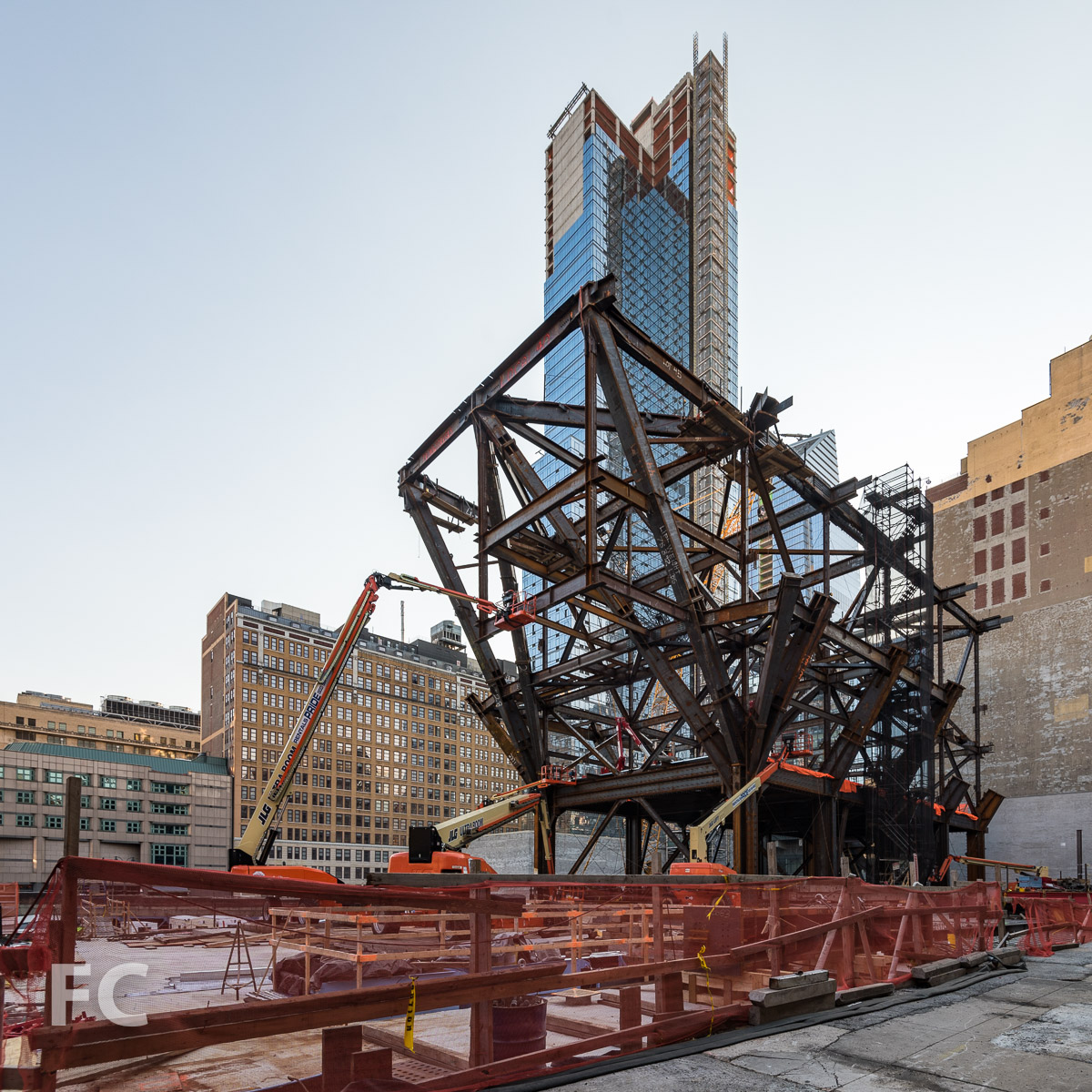 Northeast corner of the Manhattan West development with One Manhattan West rising in the foreground.