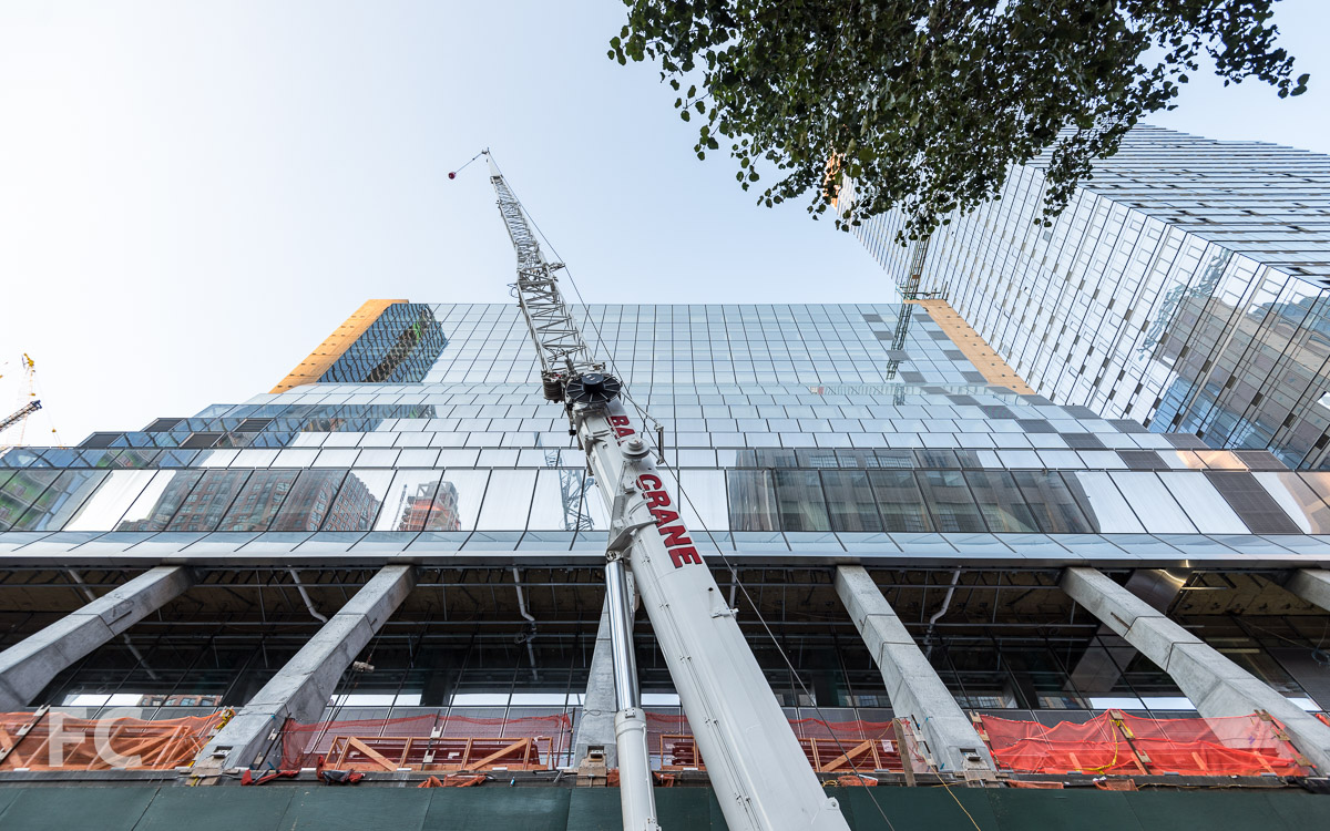 Looking up at the south façade of 5 Manhattan West.