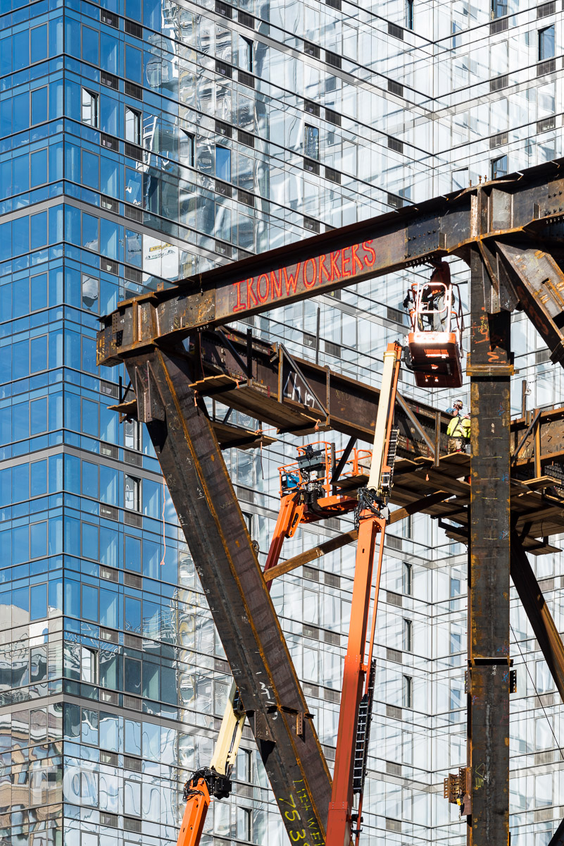 Close-up of the steel superstructure at One Manhattan West.