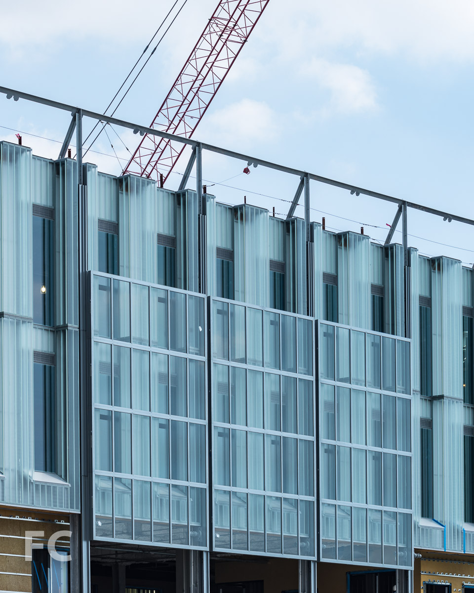 Operable glass walls installed on the south façade.
