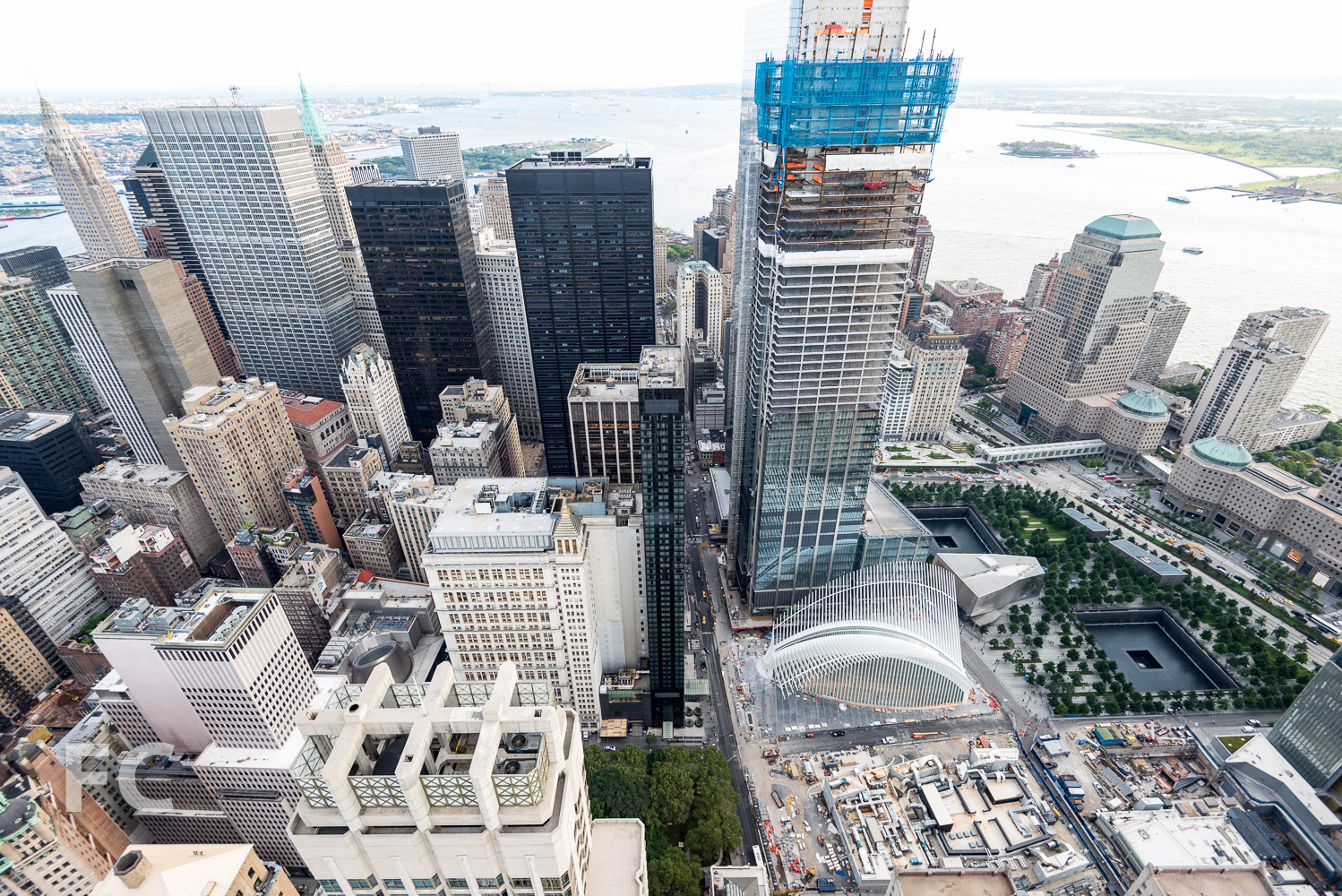 Aerial of the World Trade Center site.
