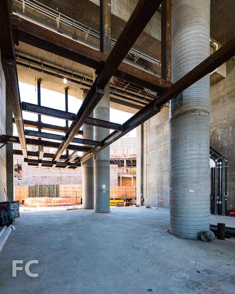The future residential lobby under construction.